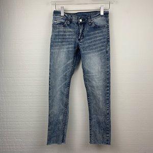 Cheap Monday Slim Advanced Blue Raw Hem Jeans